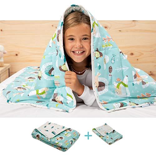 BANBALOO- Manta Pesada Reversible para niños y Adolescentes. Kit Manta ponderada Adaptable al Cuerpo + Funda de Almohada. Edredón de Gravedad sensorial para Mejorar el sueño.