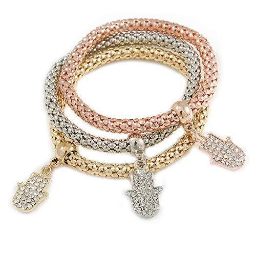 Avalaya Set of 3 Thick Mesh Flex Bracelets with Crystal Hamsa Hand Charm in Gold/Silver/Rose Gold - 19cm L