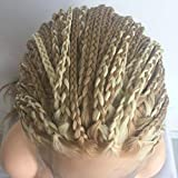 Natural Hairline Box Braided Afro America Synthetic Hair Brown Blonde Streak Handmade Braids Lace Front Wig Long Highlight Color Party Drag Queen Wigs 28 inches