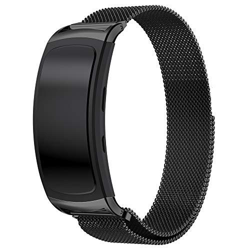 Uatone Cinturino in Metallo per Samsung Gear Fit 2, Cinturino di Ricambio Cinturino in Maglia Metallica in Acciaio per Gear Fit2 SM-R360 / Gear Fit2 PRO SM-R365 (Nero)