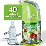 NUTRILOVERS Universalzerkleinerer - Multi-Zerkleinerer elektrisch mit 400 Watt Power, 4-Edelstahl-Klingen, zum leichten Zerteilen und Mahlen in der Küche, lebensmittelecht, spülmaschinenfest - grün
