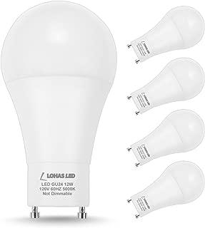 LOHAS GU24 Base Light Bulb, 1200Lumen Daylight 5000K LED Bulb 12Watt, 75W-100W Halogen Light Equivalent A19 Shape for Ceiling Fan, Twist Lock GU24 Base Bulb for Home Lighting, Non-Dimmable,4 Pack