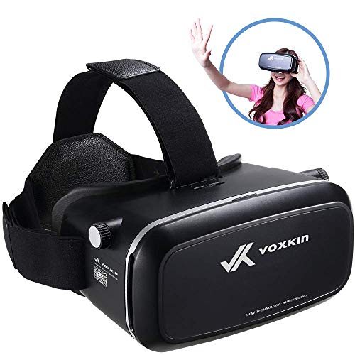 """Virtual Reality Headset 3D VR Glasses by Voxkin – High Definition Optical Lens, Fully Adjustable Strap, Focal and Object Distance – Perfect VR Headset for iPhone, Samsung and Any Phones 3.5"""" to 6.5"""""""