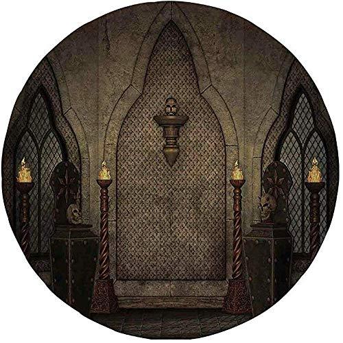 Rubberen ronde muismat, gothic,Fantasy Scene met oude stijlvolle houten fakkel en schedel kandelaars in donkere spookachtige kamer, bruin