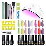 Kit smalto per unghie in gel per addominali con luce UV, kit di base per smalto gel da 11 pezzi con asciuga unghie UV/LED da 36 W, smalto per unghie in gel UV a 8 colori senza base e top coat