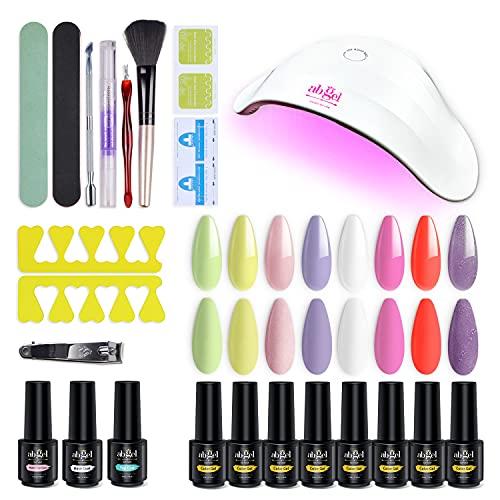 Kit de esmalte de uñas en gel Ab con secador de uñas UV/LED de 36 W, esmalte en gel de 8 colores con base y capa superior, kit de manicura en gel, herramientas para uñas