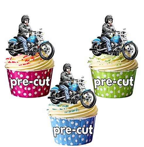 AK Giftshop PRE-CUT Harley Davidson Biker - Edible Cupcake Toppers/Cake Decoraties (Pak van 12)