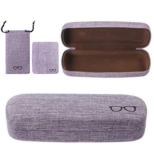 Custodia rigida per occhiali da vista e occhiali da sole, in tessuto di lino Colore: viola. Taglia unica