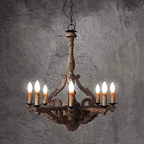 SELMAL 6 lichten van de Franse lantaarn van hout en geoxideerde ijzeren afwerking, 28,3 inch groot, elegant, betaalbaar