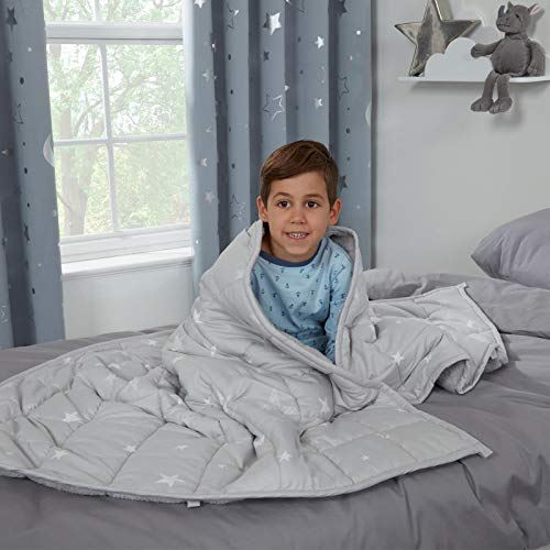dreamscene star teddy fleece kids weighted blanket for children sleep therapy anxiety autism reversible soft fluffy quilted throw, silver grey, 100 x 150cm, 3kg(6.6lb)