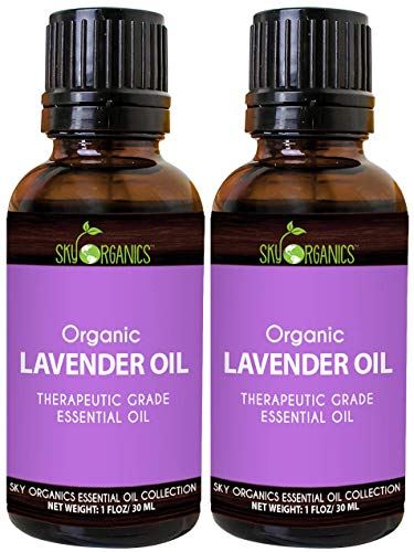 Lavender Essential Oil by Sky Organics (1oz x 2 Pack) 100% Pure Therapeutic French Lavender Oil for Diffuser Aromatherapy Headache Pain Meditation Anxiety Sleep-Perfect for Candles & Massage