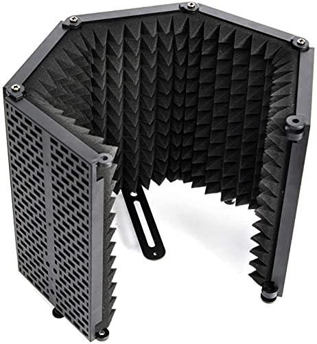 Sound Shield per Microfono, Schermo Isolante per Tutti Microfoni a Condensatore da Studio di Registrazione, Reflection Filter Antipop in Schiuma con 5 Pannelli, Sound-Shield-Schermo-Isolante-Microfono