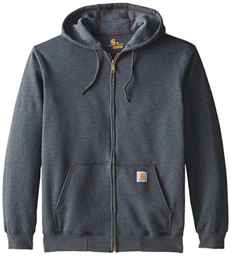 Carhartt - Felpa da uomo con cappuccio e zip grigio scuro m