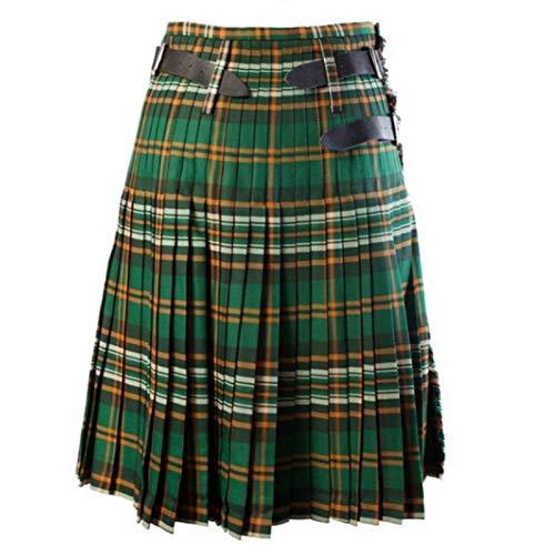 Kilt Rock Scottish Mens Kilt Traditioneller Plaidgürtel Plissee Bilaterale Kette Braun Gothic Punk Scottish Tartan Hosenröcke L Color2