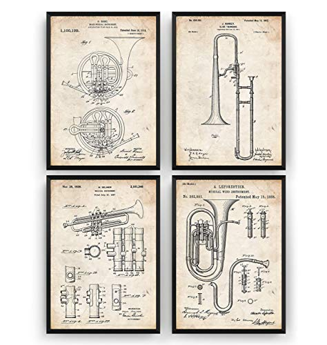 Brass Instrument Set Of 4 Patent Posters - Musical Room Music Giclee Print Art Kunst Wall Dekor Decor Entwurf Wandkunst Blueprint Geschenk Gift - Frame Not Included