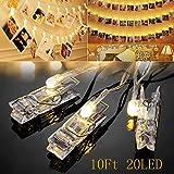 Foto Clips Cadena de Luces LED - 20 Led 3.2 Meter Alimentado Por Batería Foto Clip Cuerda Luz Para Colgante Foto, Notas,Decoración De La Boda (Blanco Cálido)
