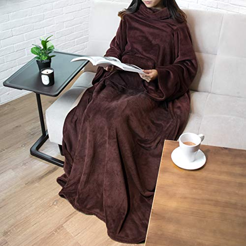 Premium Fleece Blanket with Sleeves for Adult, Women, Men | Warm, Cozy, Extra Soft, Microplush, Functional, Lightweight Wearable Throw (Black, Kangaroo Pocket)