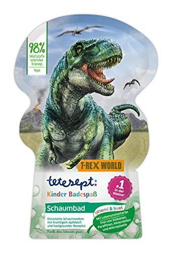 tetesept Kinder BadespaßSchaumbad T-Rex-World mit fruchtigem Apfelduft und pflegender Aloe Vera – dinostarker Badeschaum und grünes Wasser – 1 x 40 ml