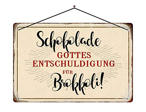 Blaszana tabliczka sentencja czekolada Boga dla brokułów tabliczka metalowa ze sznurkiem 20 x 30