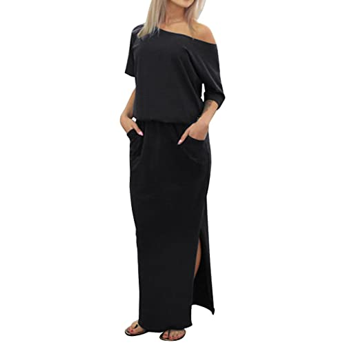77ea8e89adcc ISASSY Women s Summer Boho Split Long Maxi Dress One Shoulder Beach Wear  Evening Party Casual Dresses