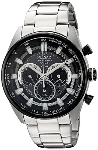 Pulsar Men's PX5033 Solar Chronograph Analog Display Japanese Quartz Silver Watch