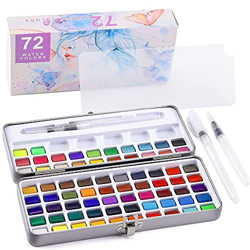 Wismee Watercolor Paint Set Water Coloring Paint 72 Vivid Colors with 3 Watercolor Brushes Water Storage Pens for Students, Kids, Hobbyists, Beginners Portable Art Painting Supplies Kit