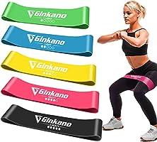 Bandas Elásticas Fitness/Bandas de Resistencia, Set de 5 Cintas Elásticas Fitness y Musculación de Látex Natural