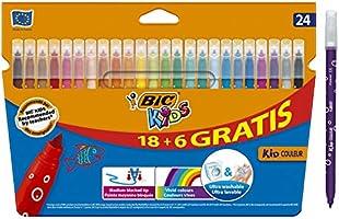 BIC Kids Rotuladores Lavables para Niños, Óptimo para material escolar y de oficina,Kid Couleur, Punta Media, Colores...