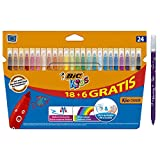 BIC Kids Kid Couleur rotuladores punta media - Colores surtidos, Caja de 18+6 – paquete...