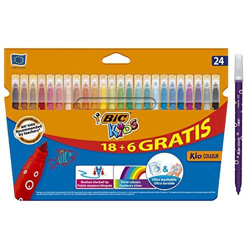 BIC Kids Rotuladores Lavables para Niños, Óptimo para material escolar y de oficina,Kid Couleur, Punta Media, Colores Llamativos, Caja de 24 Rotuladores