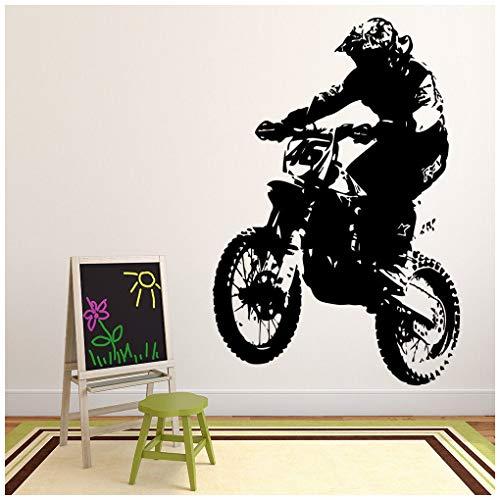 azutura Dirt Bike Fahrer Wandtattoo Motorrad Wand Sticker Jungen Schlafzimmer Haus Dekor verfügbar in 5 Größen und 25 Farben X-Groß Rose Rosa
