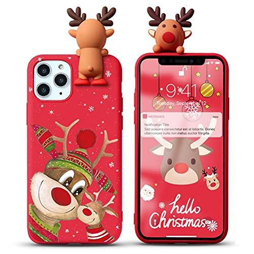 Yoedge Natale Custodia per Huawei P8 Lite 2017 / P9 Lite 2017 5,2', Rosso Silicone Matte Cover con Carino 3D Bambola Cervo Natalizie, Sottile Antiurto TPU Protezione Case, Cervo 7