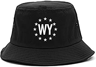 WY Wyoming Stars Circle American Flag Style Bucket Hat