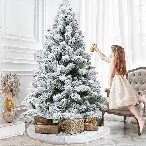 6Ft Artificial White Snow Flocked Christmas Tree-Premium Hinged Solid Metal Stand, 500 Branch Tips, Easy Assembely Unlit Xmas Full Tree for Outdoor Indoor Home, Office, Shops, and Hotels