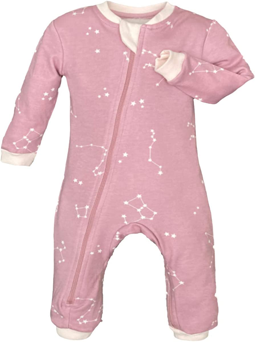 ZippyJamz Organic Baby Footless Sleeper Pajamas with Inseam Zipper for Quicker and Easier Diaper Changes (Galaxy Love - Pink, 2T)