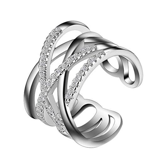 Demarkt–Anillos Mujer Ajustable Fácil Cross de líneas para Partner knuckel anillos Amistad Anillos, plata, Tamaño libre