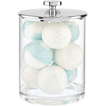 mDesign Modern Plastic Round Bathroom Vanity Countertop Storage Organizer Apothecary Canister Jar for Cotton Swabs, Rounds, Balls, Makeup Sponges, Bath Salts - Clear/Chrome