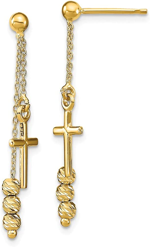 Solid 14k Yellow Gold Diamond-Cut Cross Beaded Post Studs Dangle Earrings - 31mm x 6mm
