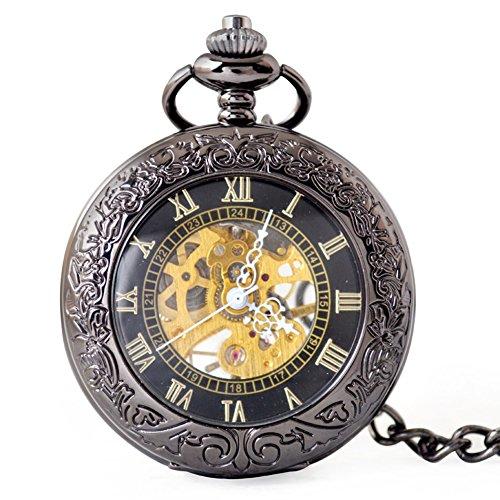 SW Watches Espejo Retro Hueco Esqueleto Reloj De Bolsillo Mecánico Automático Reloj...