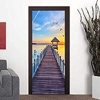 美しい木製の橋海景壁紙PVC防水粘着ドアステッカーリビングルーム寝室のドアの装飾壁画ポスター-77X200CM