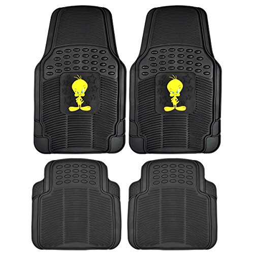 Tweety Bird Rubber Floor Mats Car 4 PC Front Heavy Duty All Weather Protection