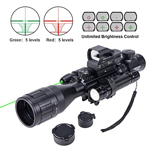 HIRAM 4-16x50 AO Rifle Scope Combo with Green Laser, Reflex...