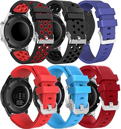 Gransho Bandas de Repuesto 22mm, Reloj Correa de Silicona Suave Correas Pulseras Correa Deportiva Pulsera (22mm, 6PCS B)