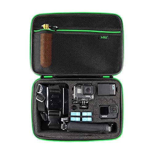 HSU Schutztasche Tragetasche (Große) - Neuer Tasche Case für GoPro Hero 9/8/2018/7/6/5/4/3+ und Zubehör, mit Tragegriff und Karabiner Loop