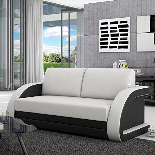INNOCENT Schlafsofa 120 cm ausziehbar Kunstleder Weiß/Schwarz Aracne