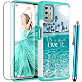 for Moto G Stylus 2021 Case (Not Fit 2020 Version) with Tempered Glass Screen Protector,Voanice Shockproof Hybrid Heavy Duty Hard PC & Soft TPU Protective Cover for Motorola Moto G Stylus 2021 -Teal