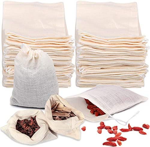 50 Pieces Tea Filters Strainer Bags Reusable Coffee Brew Herb Cheesecloth Muslin Drawstring product image