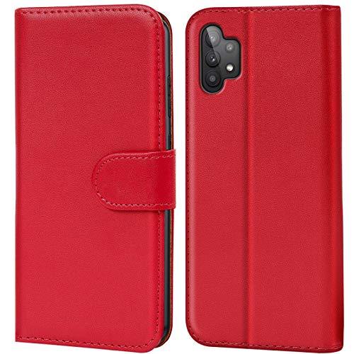 Verco Handyhülle für Samsung Galaxy A32 5G Hülle, Bookcase Tasche Flipcover für Samsung A32 5G Hülle [Kartenfächer/Aufstellfunktion], Rot
