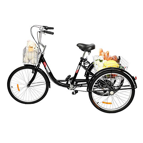 "Adult Tricycle 7 Speed 24"" Wheels Trike Cruise Bike Three-Wheeled Bicycle with Large Rear Basket Adjustable Height Seat for Recreation, Shopping, Pinic, Exercise Men's Women's Bike"