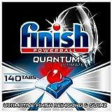 Finish Quantum Ultimate Spülmaschinentabs – Phosphatfreie Geschirrspültabs mit 3-fach Wirkung – Kraftvolle Reinigung, Fettlösekraft und Glanz – Gigapack mit 140 Finish Tabs